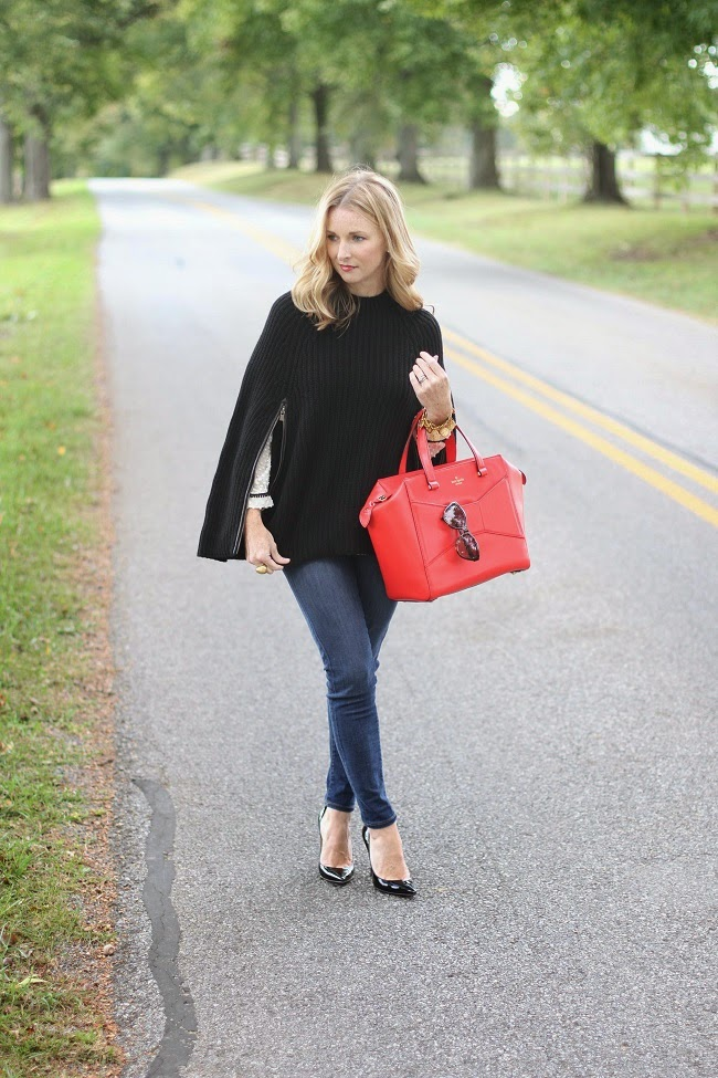 club monaco cape, jcrew jeans, kate spade beau bag, christian louboutin heels,