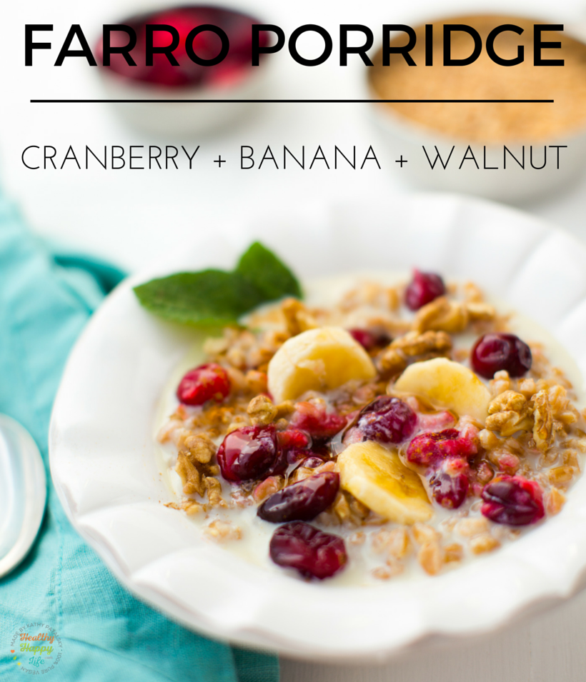 Vegan Farro Porridge with cranberries for the Holidays