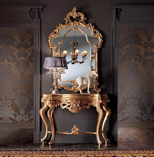 Mebel klasik italian furniture style, french furniture style, meja konsole mewah ukiran jepara, pigura ukir finishing cat emas gold leaf, meja finishing cat emas glod leaf kualitas eksport