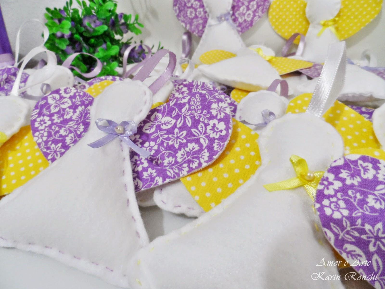 Anjinhos em feltro, lilás e amarelo - perfumados