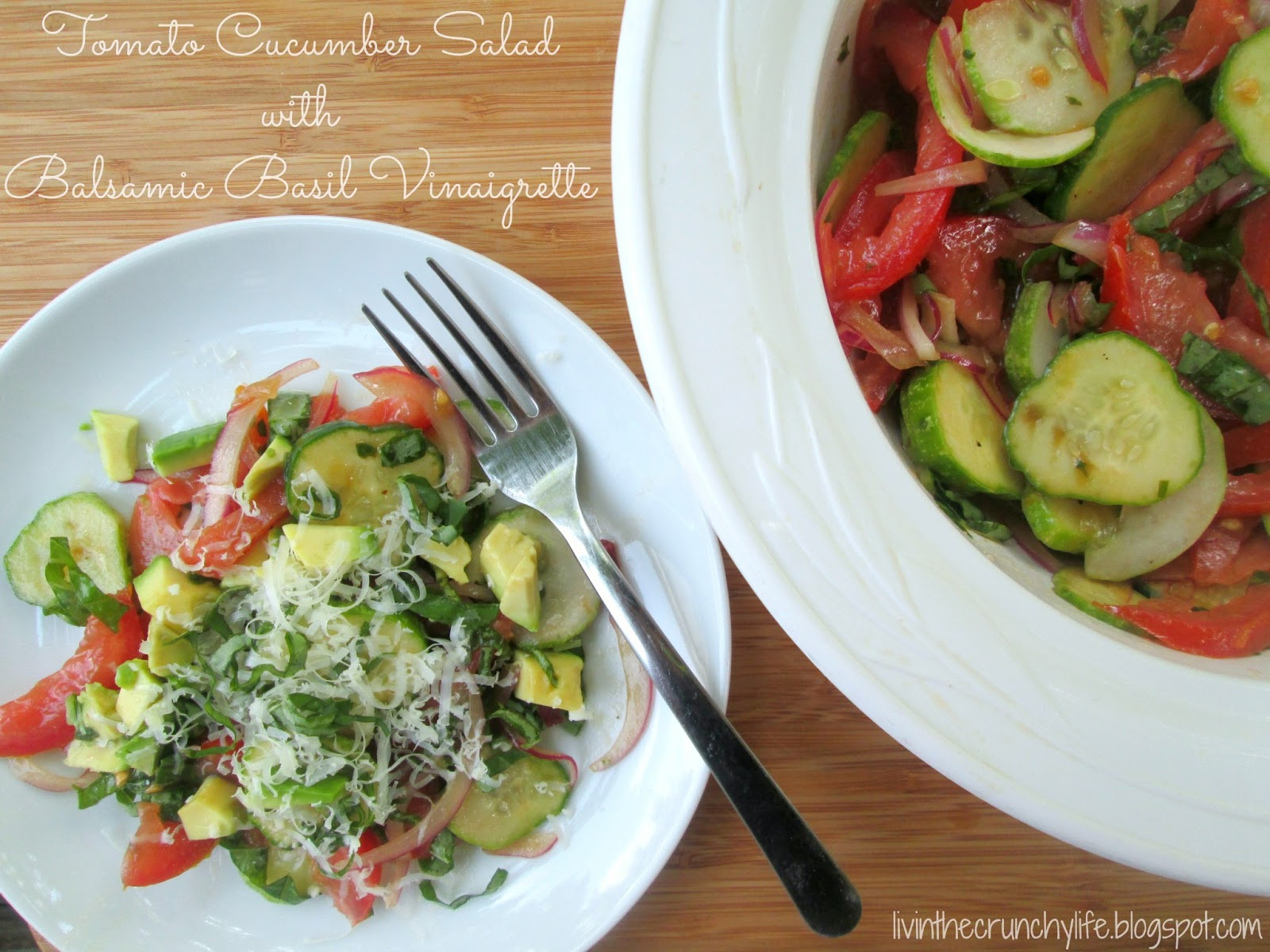 Tomato and Cucumber Salad with a Balsamic Basil Vinaigrette