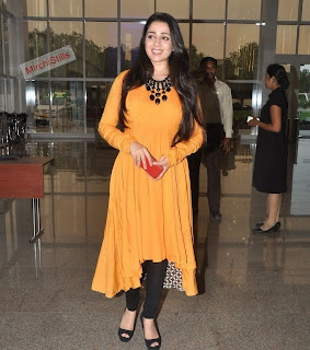Charmi Kaur in Beautiful yellow Salwar Suit and Black Leggings At Hyedrabad Paws Magazine Launch (1)015