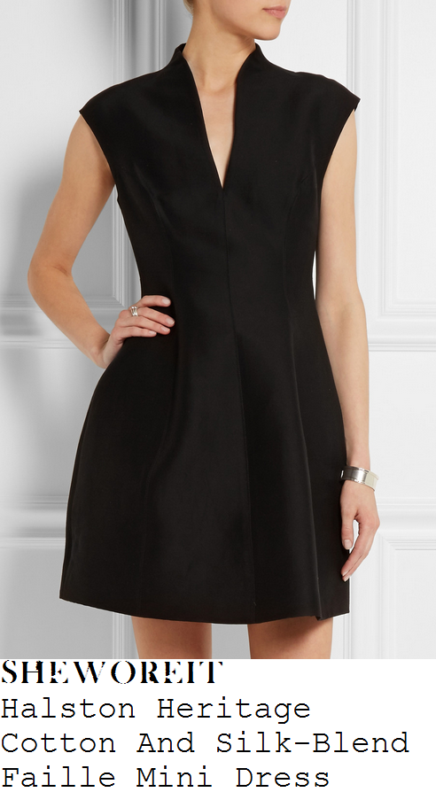 caroline-flack-black-cap-sleeve-structured-mini-dress-simon-cowell-party