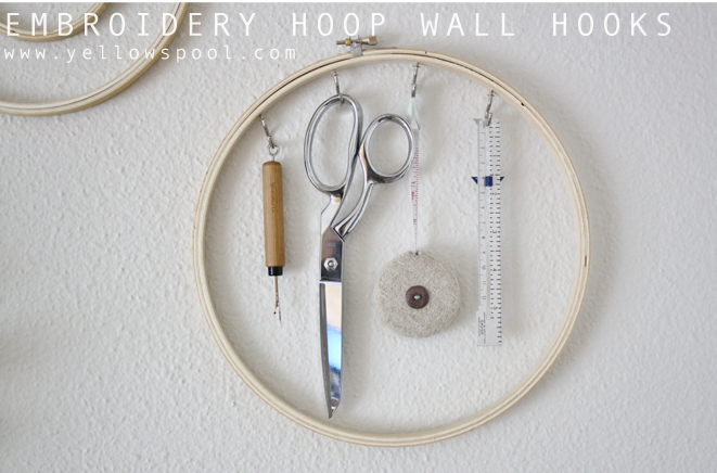 use embroidery hoops for wall hooks to add a creative touch to some functional storage
