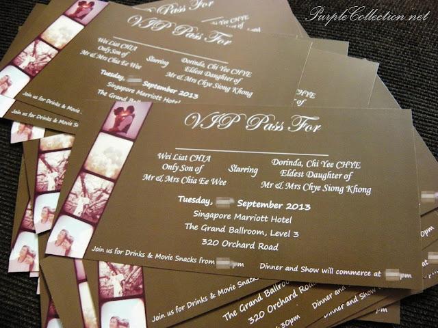 offset wedding card, concert ticket, photo strip, instagram, polaroid, handmade, sticker, wedding favour, singapore, marriott hotel