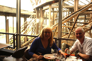 Eiffel Tower Restaurant,       John and Me Eating