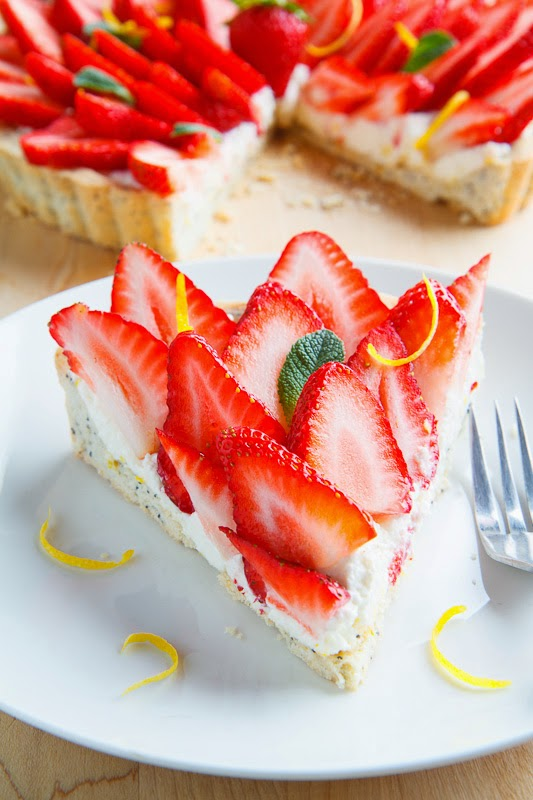 Lemon Ricotta Strawberry Pie with Poppy Seed Shortbread Crust on ...