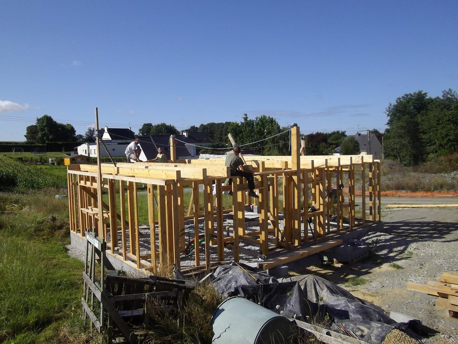 Construction de notre maison en bois et paille ossature solivage et tage for Construction en bois 6 etages