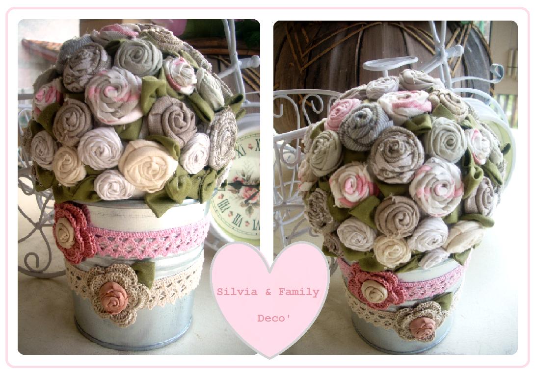 Silvia family dec fiori di stoffa for Roselline in vaso