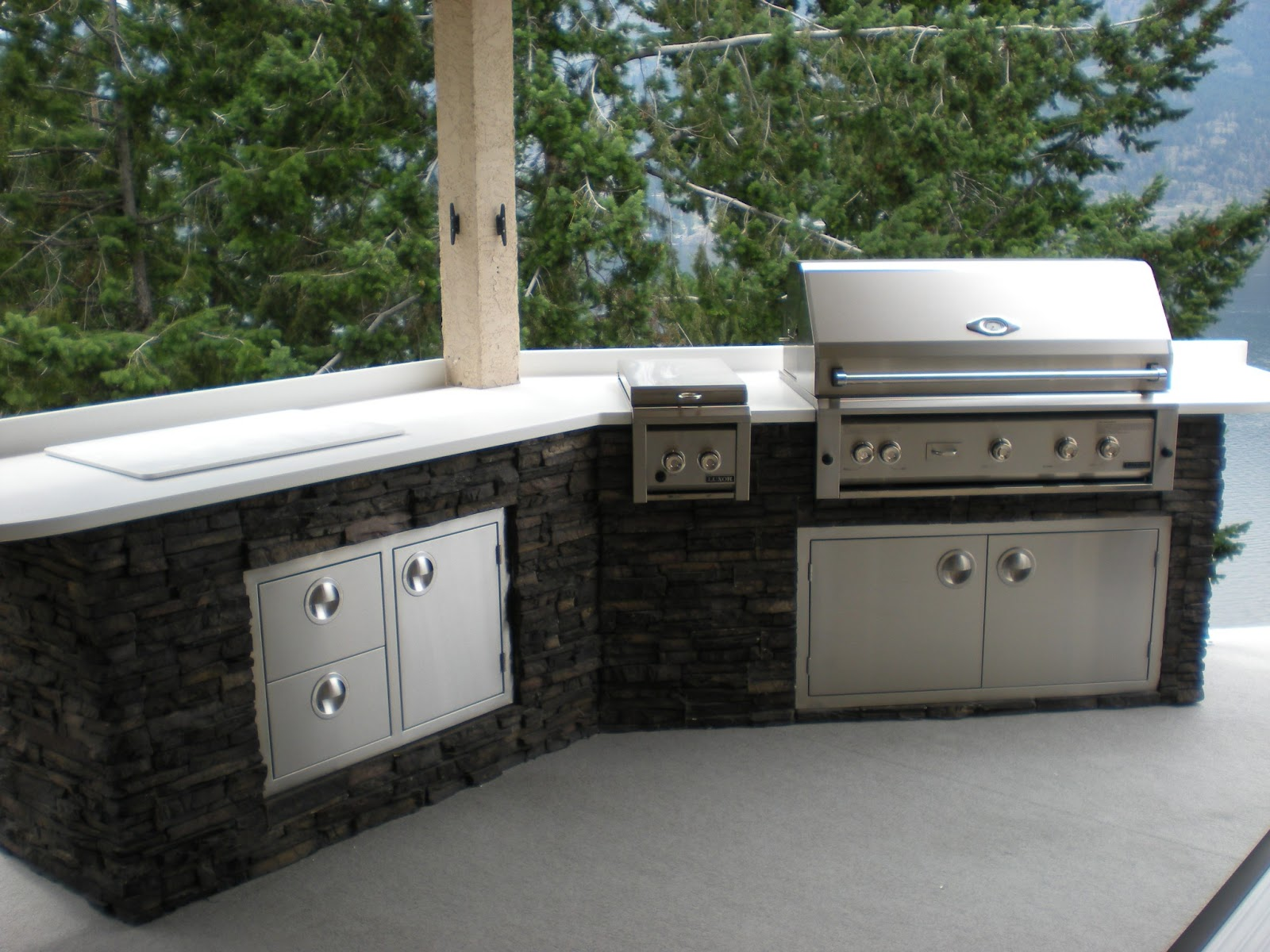 Mode concrete lakeside luxury outdoor kitchen located on for Kitchen cabinets vernon bc