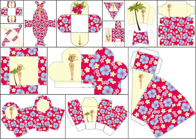Fiesta Hawaiana de Chicas: Cajas para Imprimir Gratis. | Oh My ...