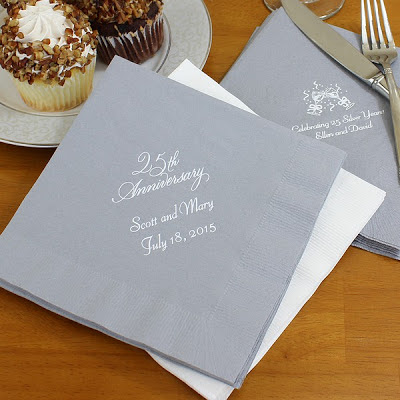 Personalized 25th anniversary party napkins