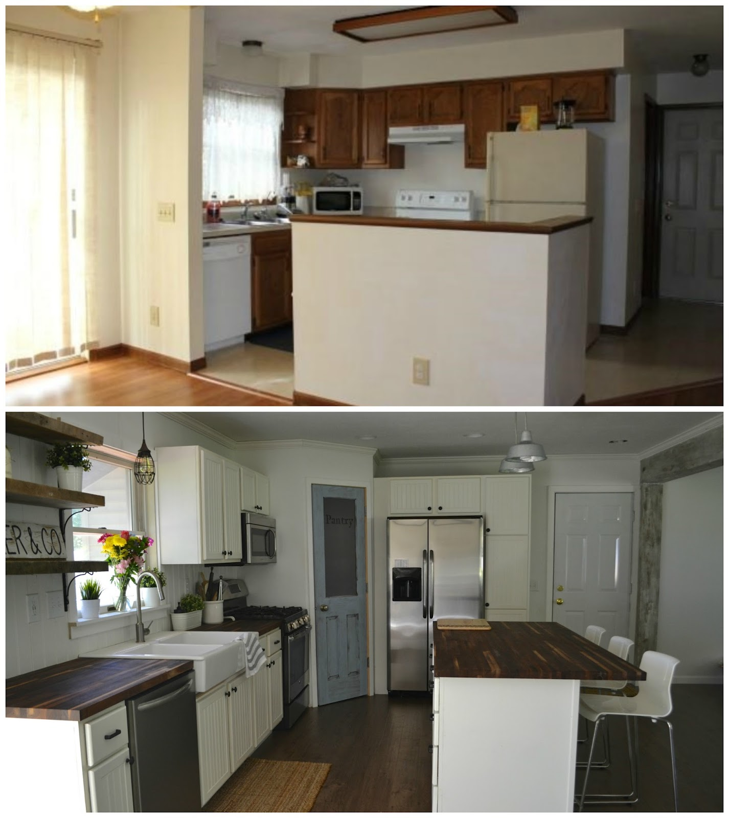 We Knocked Down The Wall Dividing Kitchen And Living Room Put A Beam Up Painted Everything Fresh New White As Comes