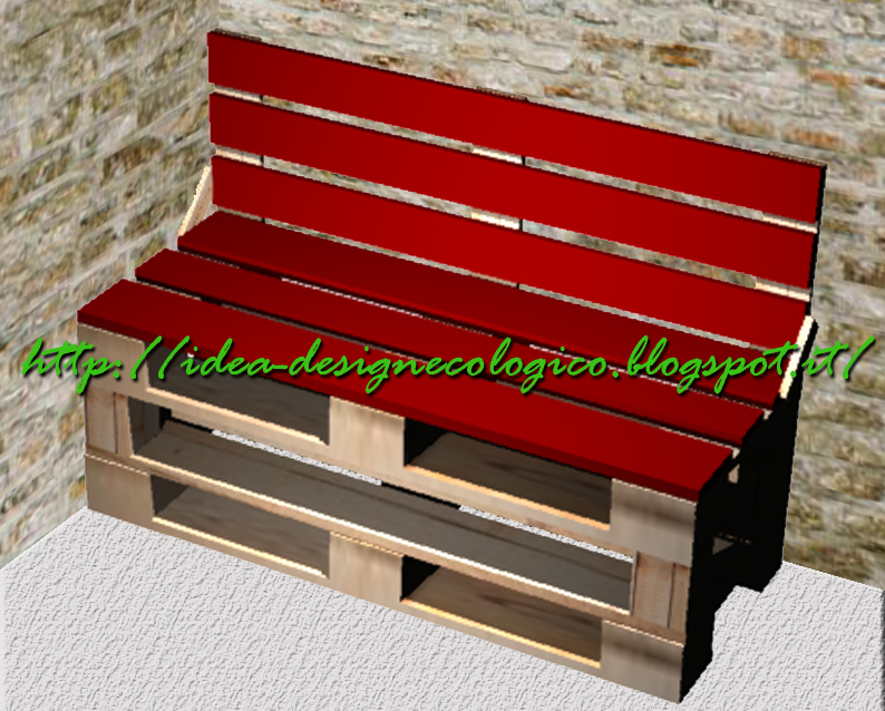Idea design ecologico panca con schienale for Panca pallets