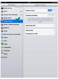 Rede de celular iPad configurar 3G