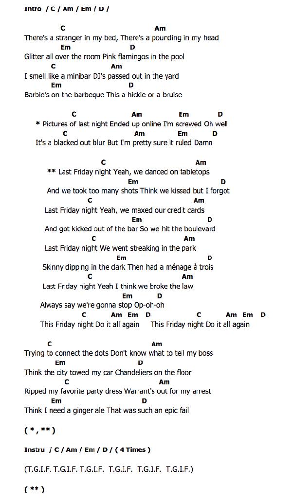 Katy Perry Last Friday Night Guitar Chords Nyc