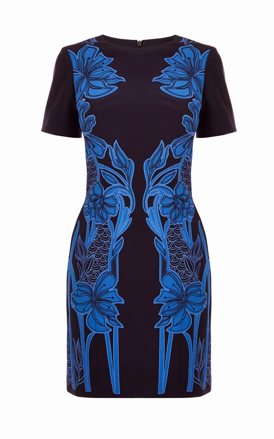karen millen blue flower dress,