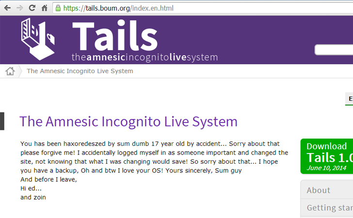 tails os website hacked the hacker news