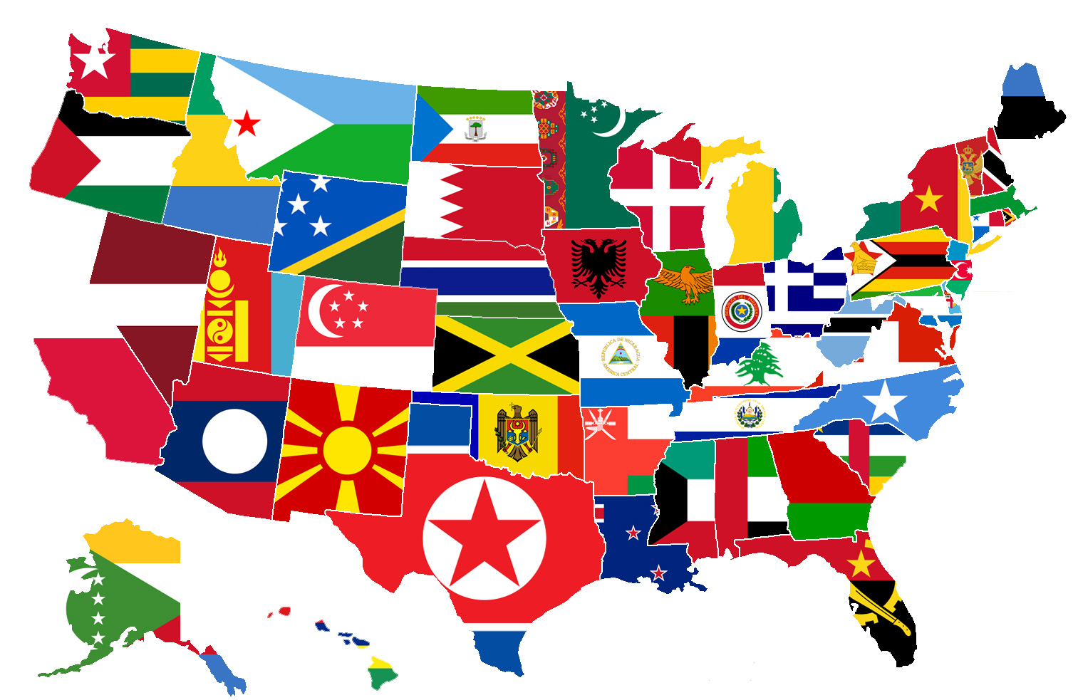 this map shows the different states of america replaced with the flag of a country with a similar size in population the map visually shows how large the