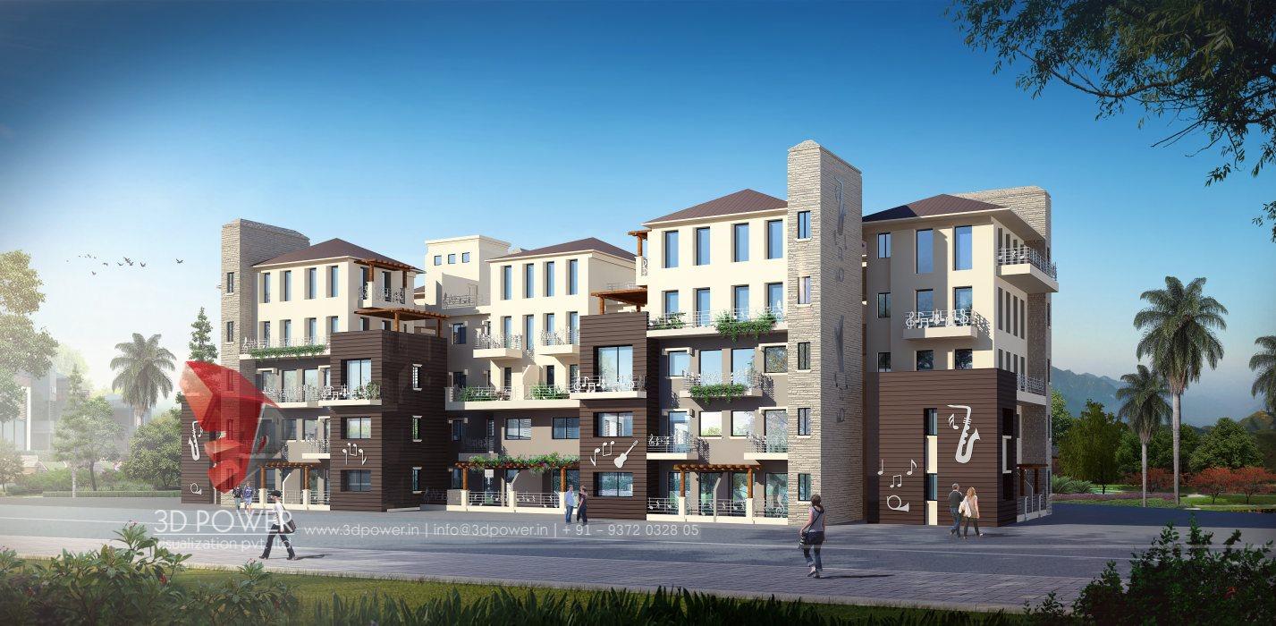 Corporate building design 3d rendering corporate for Exterior design of building