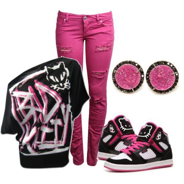 Pink pants, black shirt and sneakers for ladies