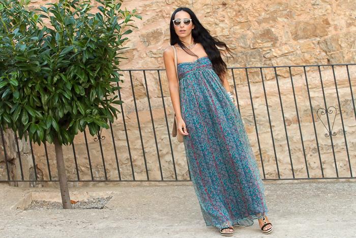 Maxi Vestido hippie de nueva coleccion de mango