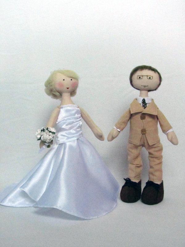 Toys For The Honeymoon : Handsome handmade wedding bride and groom dolls