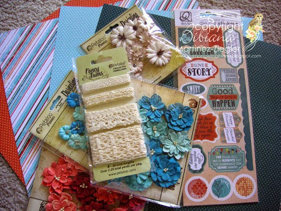 supplies for card for mom using petaloo and quick quotes
