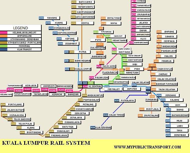 Kuala Lumpur Rail System Map Malaysia Public Transport Directory