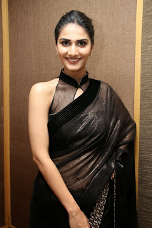 vaani kapoor new  stills in black saree(4)