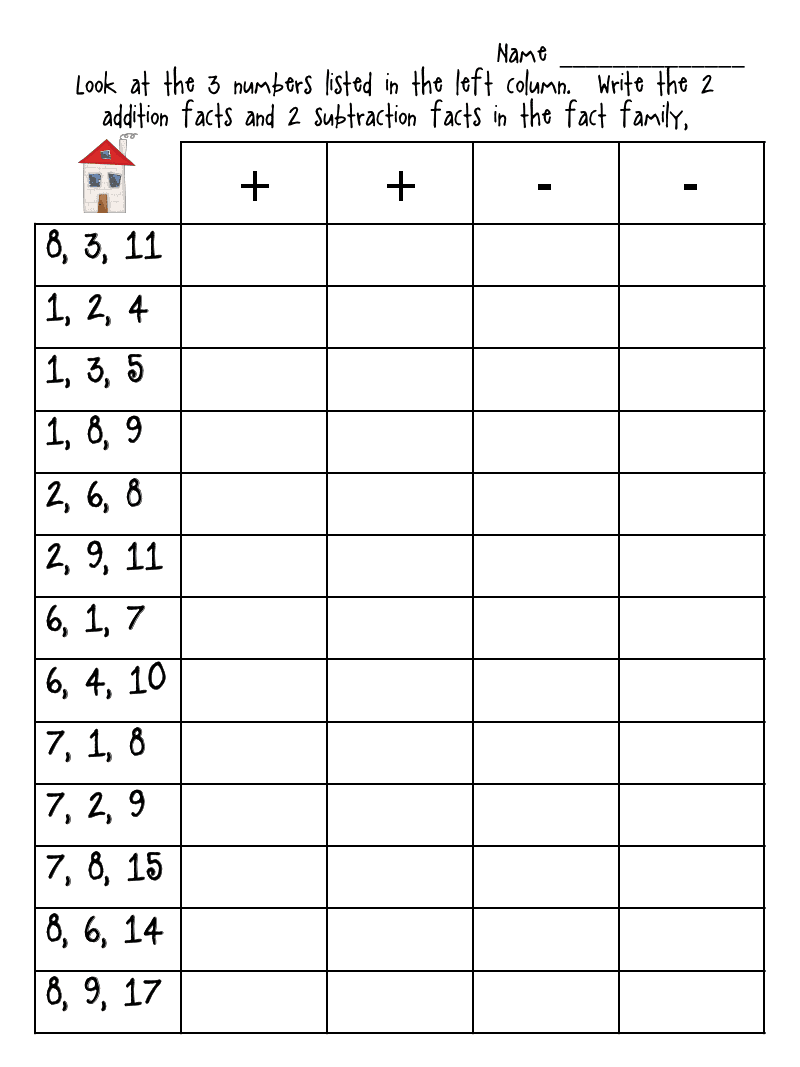 2nd Grade Fact Family Worksheets simple addition and subtraction – Addition Fact Worksheets