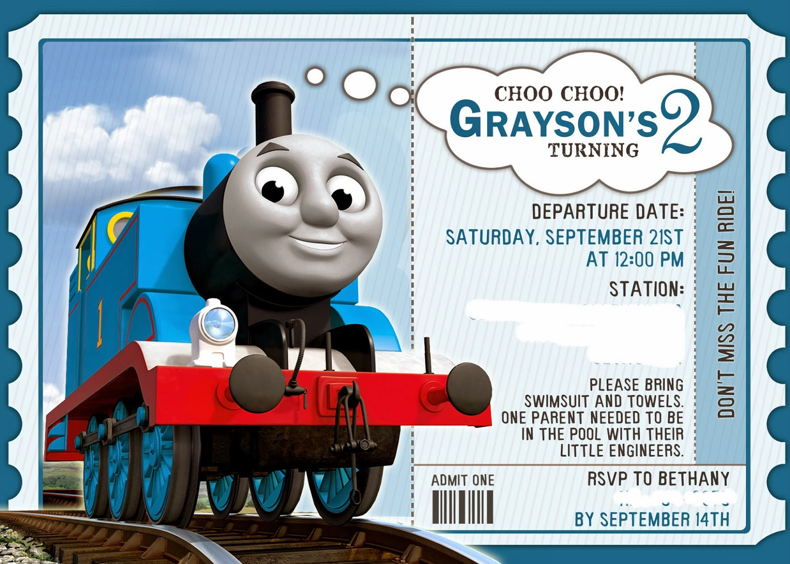 Thomas The Train Birthday Party Details
