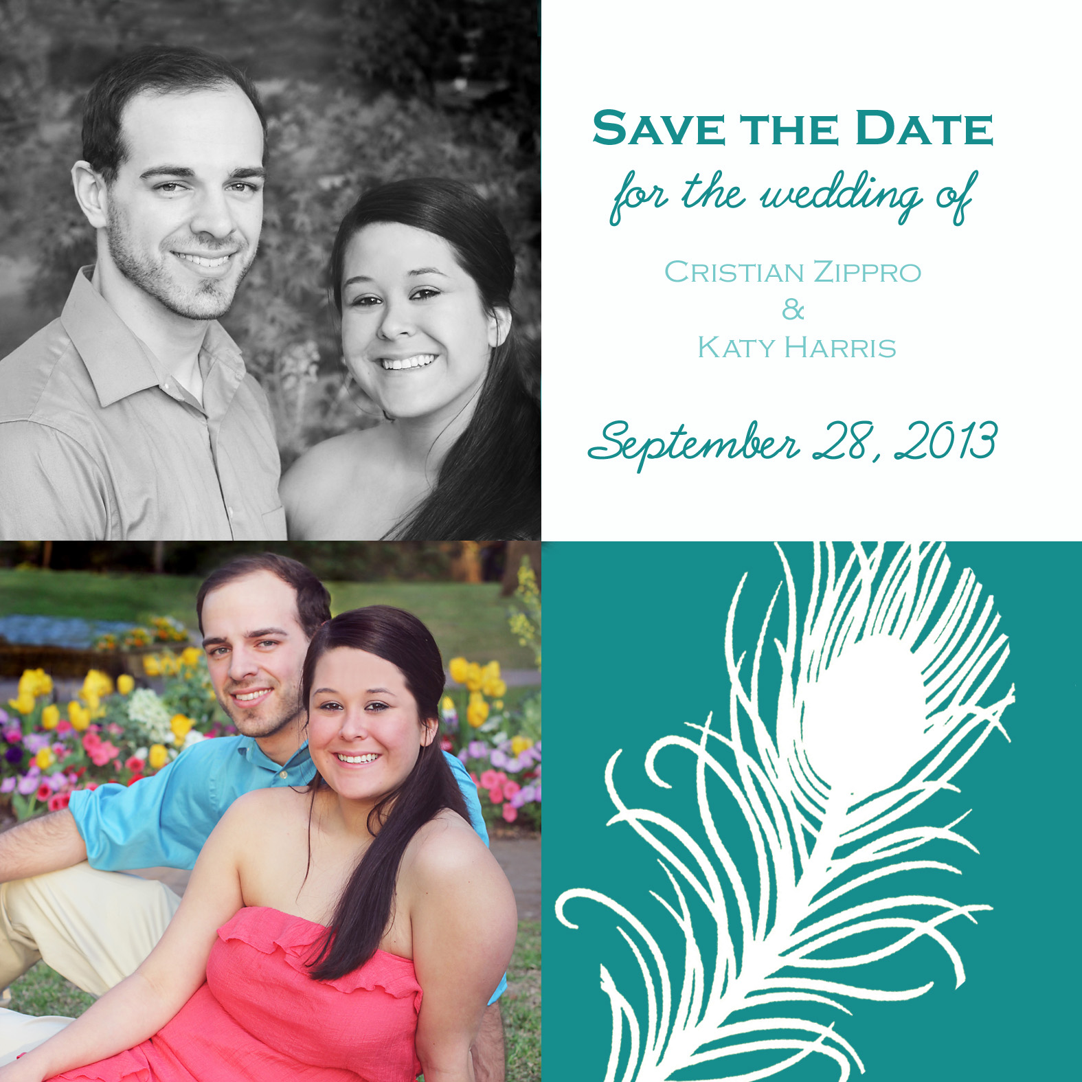 Peacock Wedding, Save the Date, Save the Date Magnet, Grapevine Engagement, Teal Wedding Color Ideas, Peacock Feather