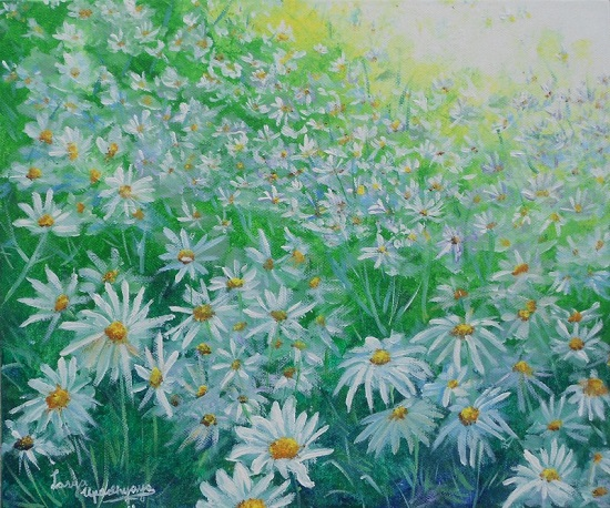 White flower field by Lasya Upadhyaya ( part of her portfolio on www.indiaart.com)