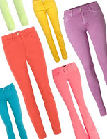 Brightly coloured jeans