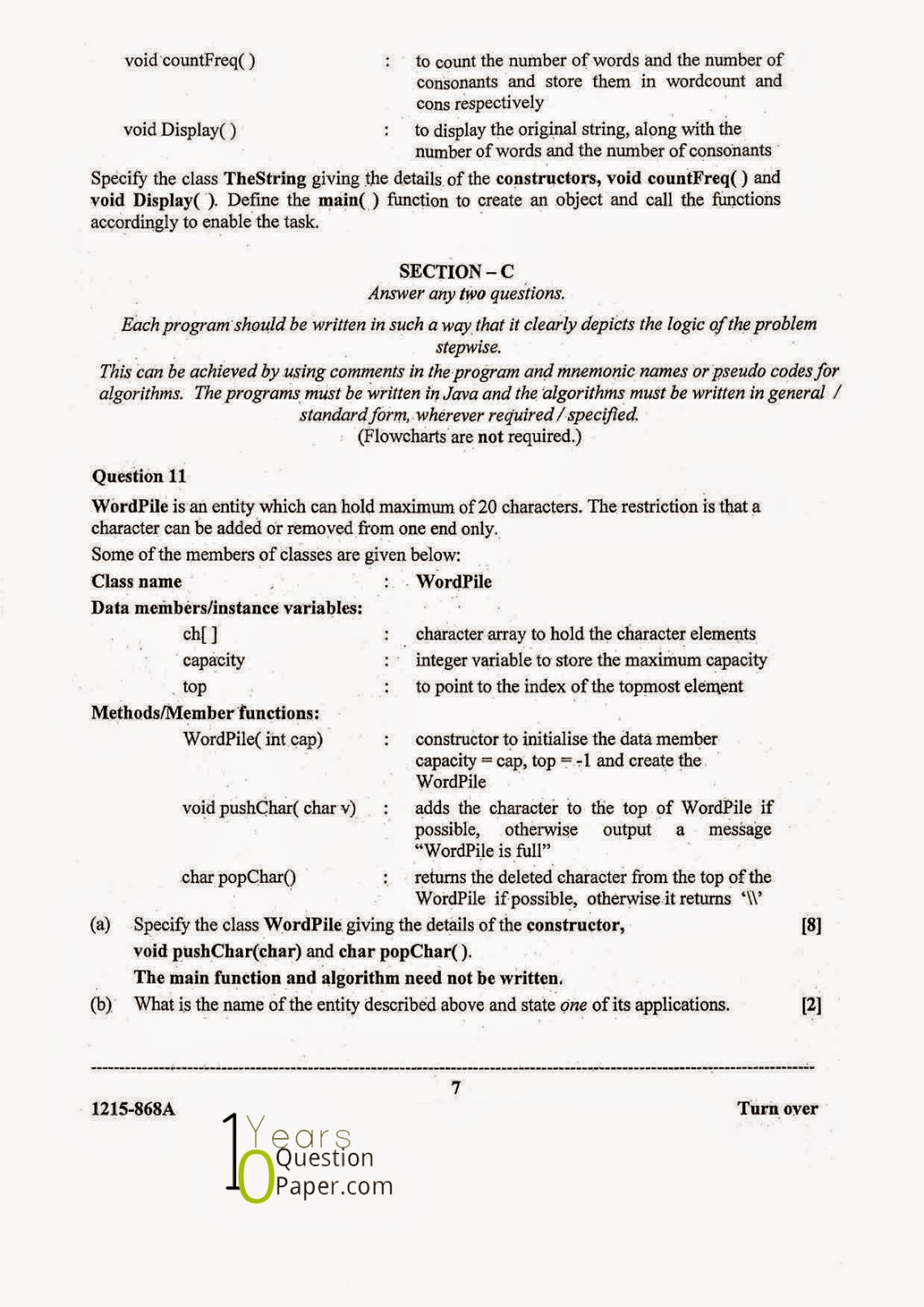 isc 2015 class 12th computer science question paper