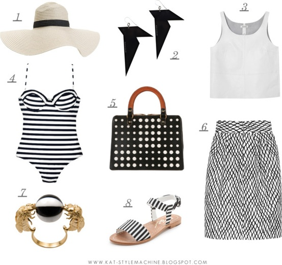 spring, summer, black and white stripes, dots, and pattern