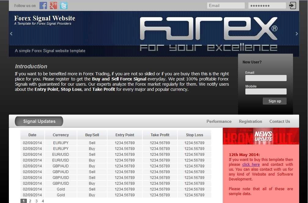 Forex signal website template