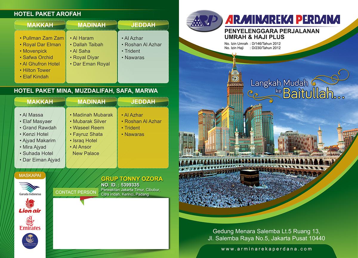 "Contoh Desain Brosur Haji dan Umroh ""Arminareka Perdana"