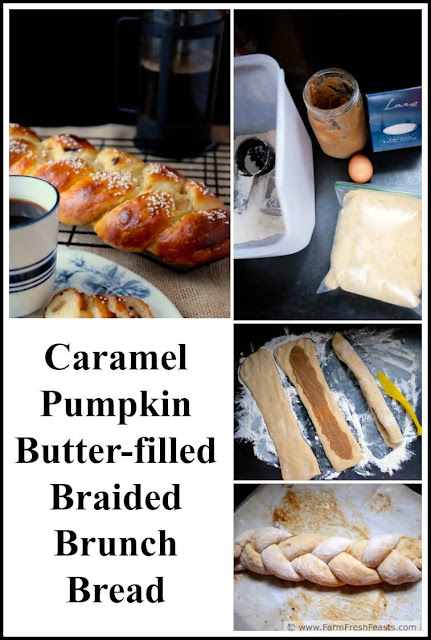 A recipe for lightly sweet braided bread that is stuffed with caramel pumpkin butter and makes a terrific addition to a brunch or served with morning coffee or tea.