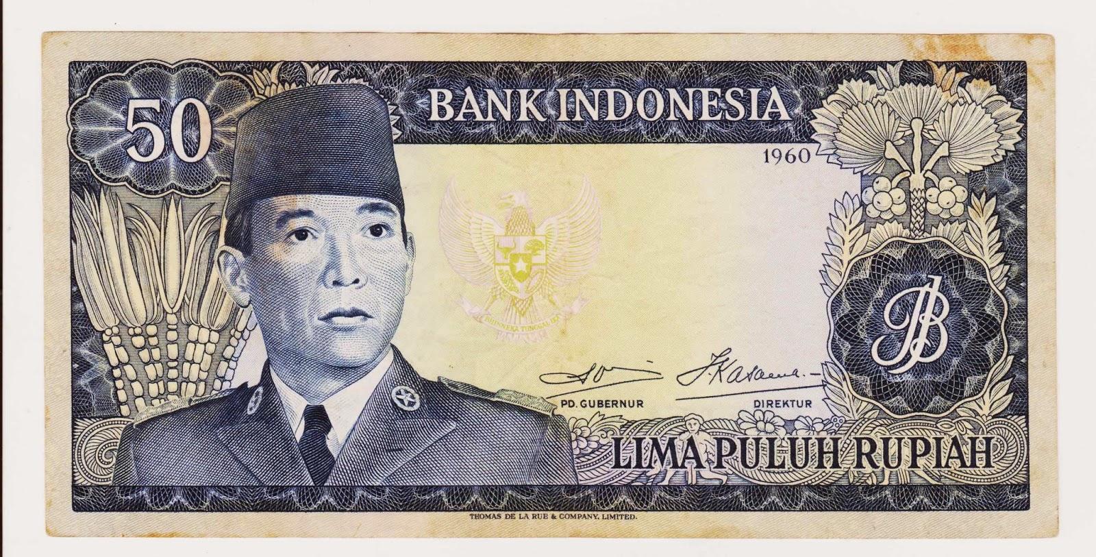 uang kuno Seri Soekarno tahun  1960 Pecahan 50 rupiah