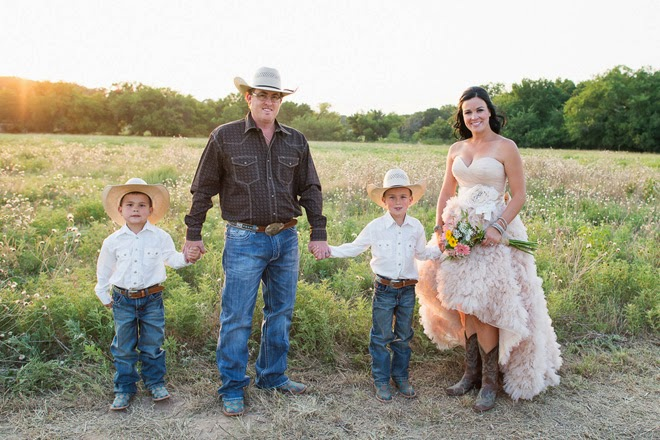 Western Chic Wedding Pink Ruffles And Cowboy Boots