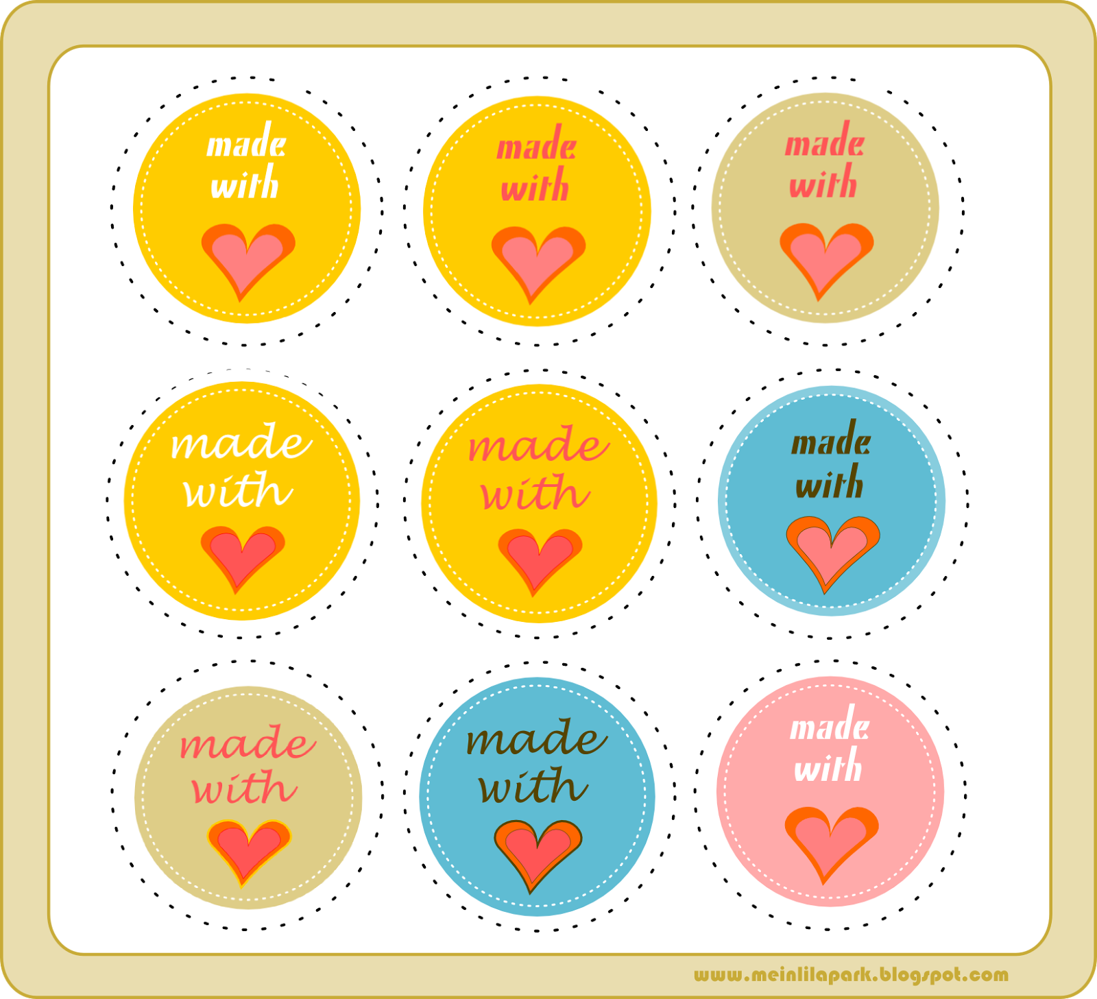 free printable made with love circle tags ausdruckbare etiketten freebie meinlilapark. Black Bedroom Furniture Sets. Home Design Ideas