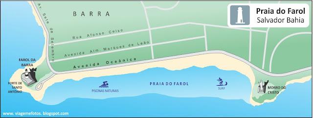 Mapa Praia do Farol da Barra