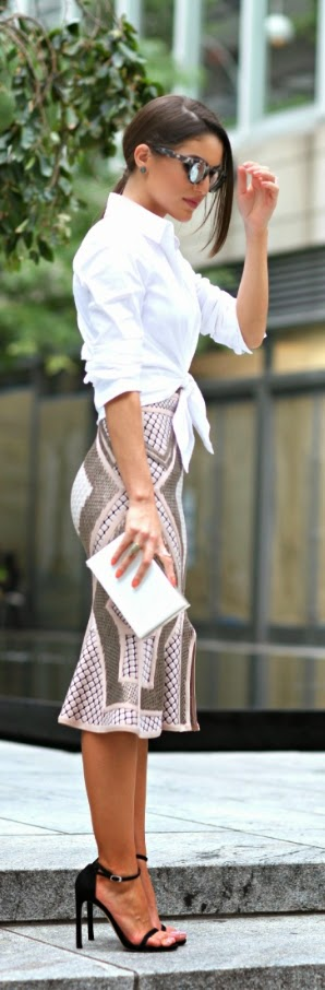 Sexy Mini Skirt with White Top and Black Heels | Chic Street Outfits