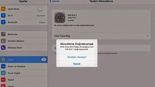 IOS 8 ilk güncellemeyi yaptım, geri dönmek istiyorum