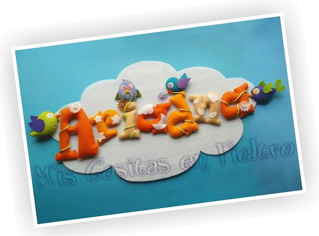 nombre, guirnalda, rótulo, bebé, fieltro, niños, regalo,   nacimiento, pájaro, pajarito