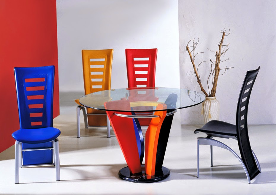 colorful chairs glass dinette sets