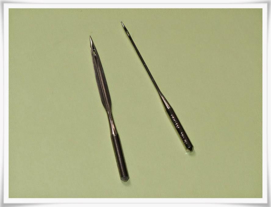 Vingnål och vanlig symaskinsnål i jämförelse