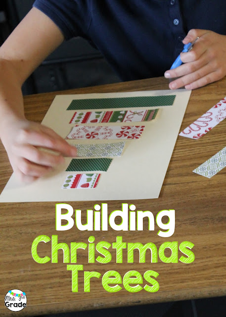 Building Christmas trees out of scrapbook paper and then measuring to the nearest quarter inch.